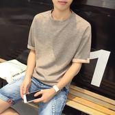 夏季日系文藝寬鬆短袖男T恤潮流五分袖夏天衣服男中袖半袖男上衣 魔方數碼館