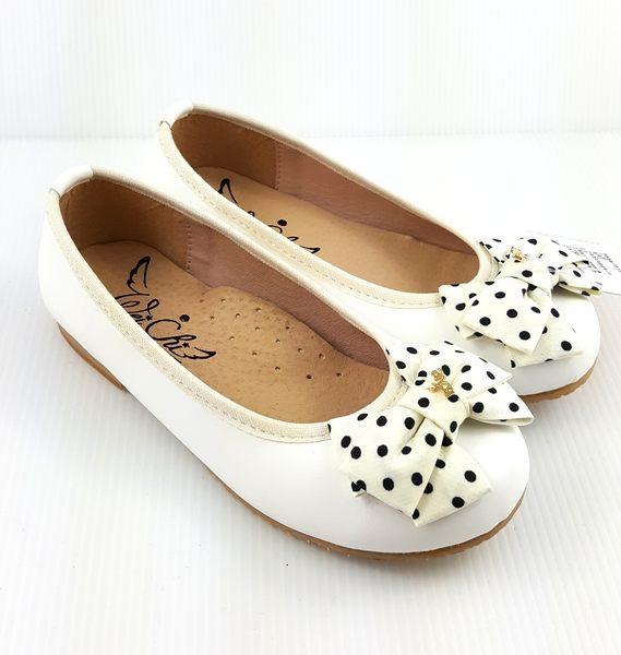 台灣製 手工氣質蝴蝶結點點公主鞋《7+1童鞋》B689白色