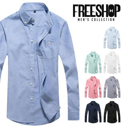 素面襯衫 Free Shop【QTJDJ296】日韓風格多色款單口袋修身剪裁素面立領長袖工作襯衫 有大尺碼
