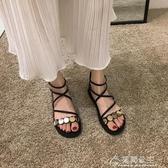 羅馬涼鞋平底女鞋夏季黑色綁帶百搭潮時裝鞋子平底仙女鞋 快速出貨