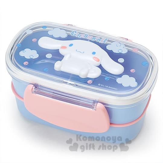 〔小禮堂〕大耳狗  日製雙層微波便當盒《藍粉.坐姿.雲朵.點點.立體造型蓋》容量約480ml 4901610-61300