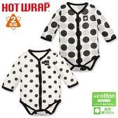 日本西松屋 機能發熱前扣式長袖包屁衣二件組 灰圓點 女寶寶童裝【NI0265003】