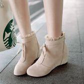 秋百搭韓版蕾絲短筒內增高女鞋子蝴蝶結圓頭短靴  街頭潮人