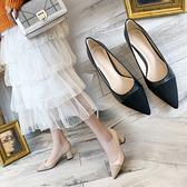 高跟鞋女粗跟2019春季新款尖頭裸色中跟春款空乘女黑色職業單鞋女