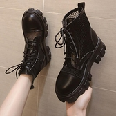 馬丁靴女英倫風夏季薄款百搭涼鞋靴子網紗透氣厚底鏤空短靴機車靴 【ifashion·全店免運】