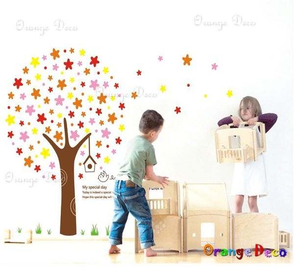 壁貼【橘果設計】歡樂星 DIY組合壁貼/牆貼/壁紙/客廳臥室浴室幼稚園室內設計裝潢