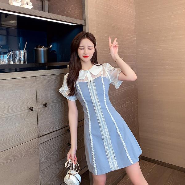超殺29折 韓國風浪漫吊帶裙娃娃領亮絲上衣襯衫套裝短袖裙裝