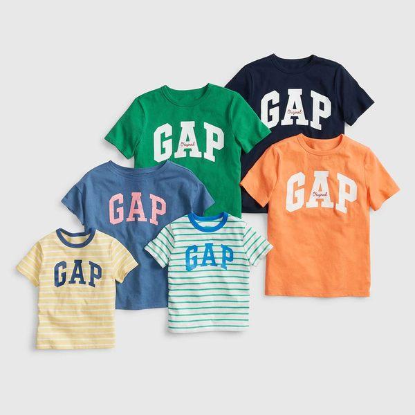 Gap女童 純棉圓領雙面亮片夏季短袖T恤 466866-深煙灰色