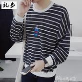 日系原宿黑白條紋男士長袖T恤刺繡海魂衫連帽T恤春裝外穿上衣服bf風 新春禮物