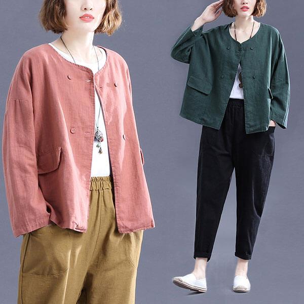 棉麻 日雜款雙排釦外套-大尺碼 獨具衣格