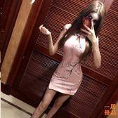 洋裝連身裙韓版時尚復古圓領鏤空修身改良式旗袍無袖連身裙潮