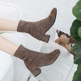 短靴女 秋冬新款高跟中筒女靴韓版百搭粗跟方頭彈力靴一鞋三穿 免運