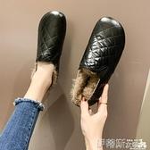 樂福鞋 韓版菱格紋樂福鞋女2021年冬季新款平底套腳加絨保暖舒適豆豆棉鞋 非凡小鋪 新品