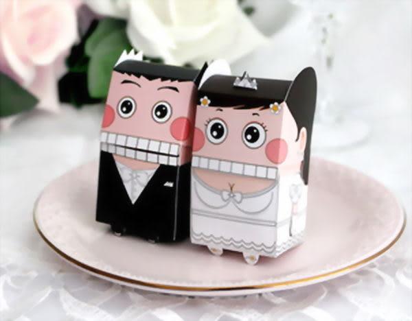 (免費摺喜糖盒)超可愛西式卡通娃娃喜糖盒,婚禮小物/50份