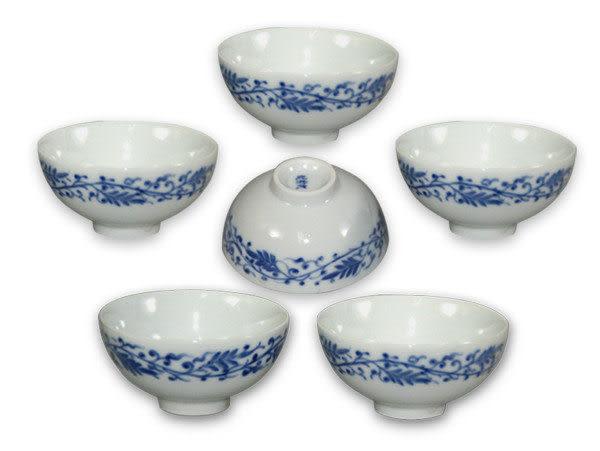 鹿港窯~ 青花瓷手繪茶杯【唐草】(6入)