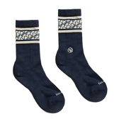 H2O 襪子 日常研究室 LAB CLASSIC SOCKS 老花紋 深藍 銀離子抑菌抑臭纖維 男女 (布魯克林) 20SS03NV