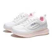 FILA 慢跑鞋 白粉 網布 全氣墊 灰LOGO 女 (布魯克林) 5J327V151