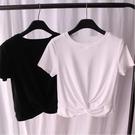短款上衣 短款T恤女夏裝心機交叉高腰短袖體桖露臍緊身氣質上衣服-Ballet朵朵