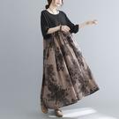 棉麻連身裙洋裝5051#棉麻大碼250斤胖MM拼色文藝復古連身裙女長袍MB151-A.依品國際