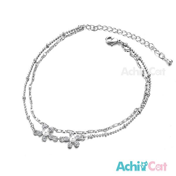 AchiCat 腳鍊 正白K 珍珠花 銀色 J004