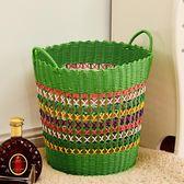 塑料編織筐收納籃髒衣桶籃子玩具筐髒衣服收納籃鏤空式新款ZMD