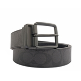 【COACH】PVC LOGO雙面用皮帶(寬)(黑灰色) F64839 BKBK
