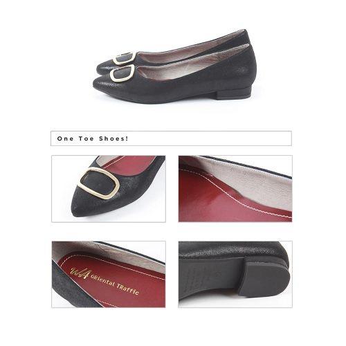 【ORiental TRaffic】簡約金屬方釦平底鞋-簡約黑