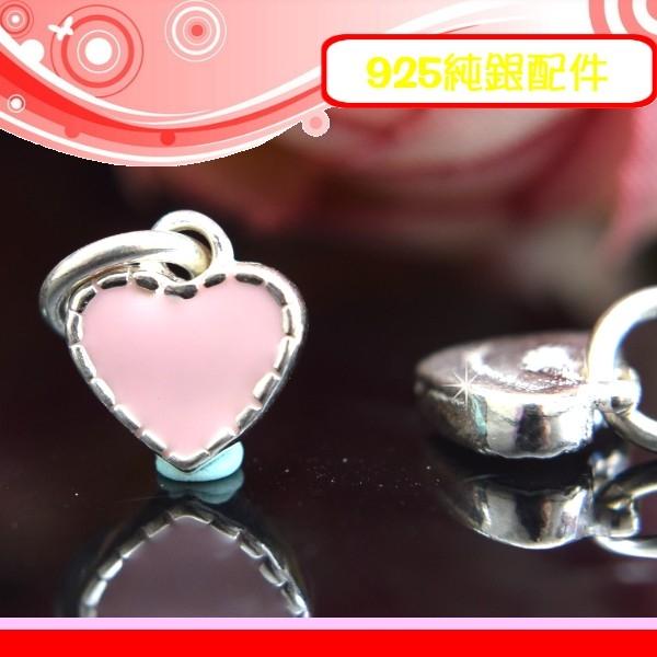 銀鏡DIY S925純銀配件/滴膠(仿琺瑯)甜美小愛心厚版心形吊墜-粉紅色~適合手作串珠/蠶絲蠟線/幸運繩