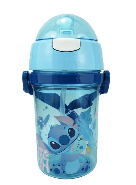 【卡漫城】 史迪奇 彈跳式 吸管 水壺 ㊣版 Stitch 星際寶貝 400cc 迪士尼 斜背 吊繩 水杯