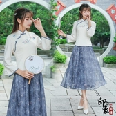 兩件套漢服原創女文藝復古繡花盤扣上衣雪紡碎花半身裙套 降價兩天