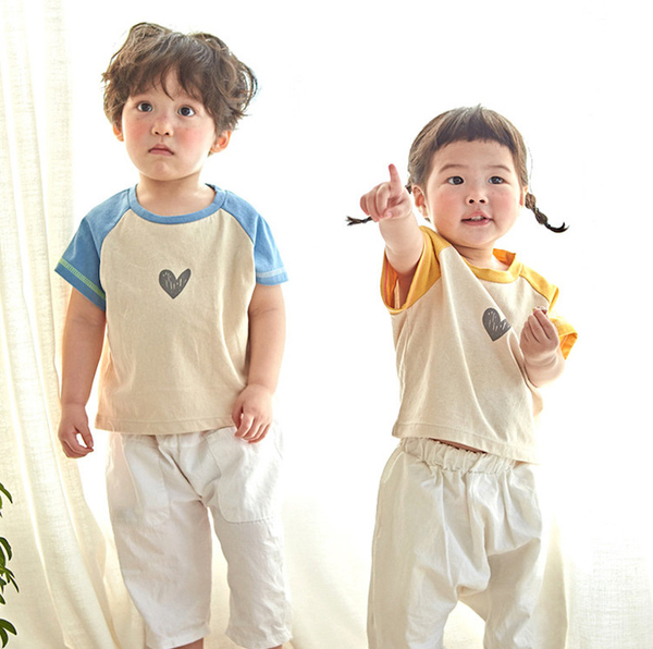 愛心拉克蘭拼色短袖上衣親子裝( 小孩)