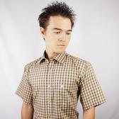 【金‧安德森】卡其色經典小格紋短袖襯衫
