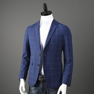 西裝外套 英倫風格子 外貿剪標尾單男士休閒西裝韓版修身西服單西外套男潮