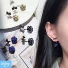 【37A13】shiny藍格子-精緻小巧‧氣質甜美水晶蝴蝶結後掛式耳環
