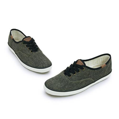 LIKA夢 Keds 時尚韓風經典款帆布鞋 OH TWEED 系列 黑 121897 女