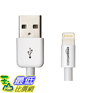 [106美國直購] AmazonBasics Apple Certified Lightning to USB Cable-6 Feet(1.8 Meters)-White
