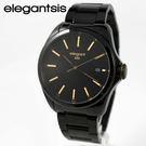 【萬年鐘錶】elegantsis  簡單風格素雅黑金錶  黑x深灰   45mm  ELJT42-2B05MA