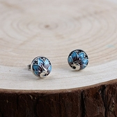 925純銀耳環-圓形燒藍孔雀鏤空情人節生日禮物女飾品73uv49【時尚巴黎】