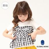 GLOBAL WORK童圓領假兩件馬甲式蝴蝶結點點格紋短袖造型上衣-四色