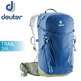 【Deuter 德國 TRAIL 26L輕量拔熱透氣背包《藍》】3440319/自行車背包/健行包/登山背包/後背包