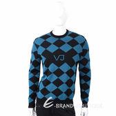 VERSACE VJ圖騰黑藍撞色菱格織紋羊毛衫 1710578-61