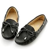 G.Ms. 童鞋-全真皮蝴蝶結休閒鞋-寵愛黑