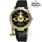 Vivienne Westwood / VV006BKGD / ORB II 雅典高貴立體墜飾壓紋皮革手錶 黑x金框 32mm