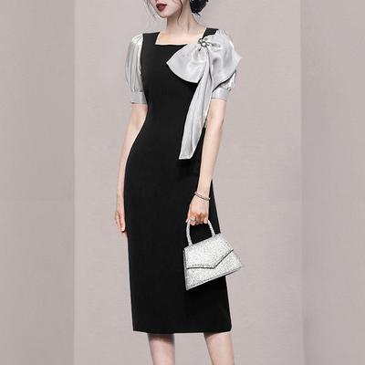 OL洋裝小禮服裙3281#夏季法式復古撞色拼接泡泡袖別致系蝴蝶結修身小眾連身裙NA07依佳衣