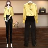 長褲套裝襯衫小腳褲L-4XL中大尺碼女裝遮肚顯瘦洋氣减齡網紅兩件套3F088.5809皇潮天下
