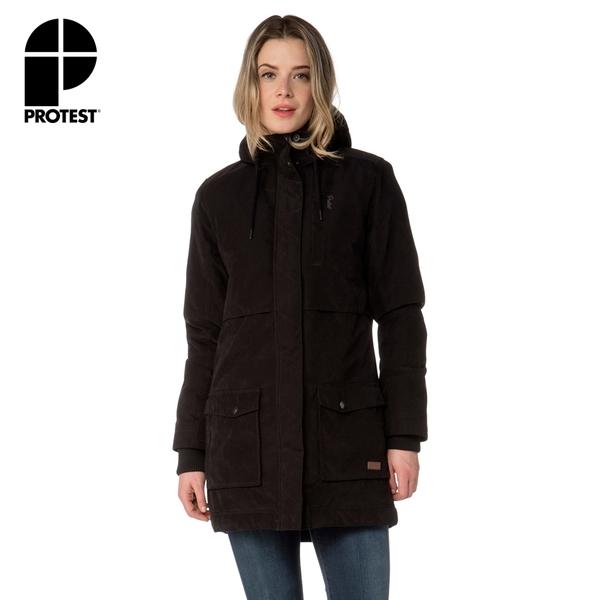 PROTEST 女 長版戶外保暖外套 (真實黑) SHOWGIRL LONG