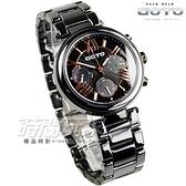 GOTO 羅馬簡約時刻三眼陶瓷腕錶 雙配色 珍珠螺貝殼面盤 黑x玫瑰金 藍寶石水晶 女錶 GC0052M-33-341