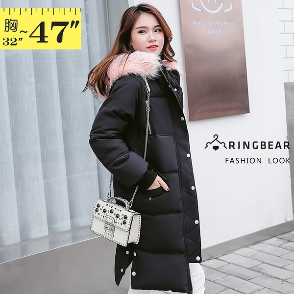 鋪棉外套--保暖毛領連帽羅紋袖口排釦拉鍊口袋羽絨棉長版大衣外套(黑M-3L)-J271眼圈熊中大尺碼◎