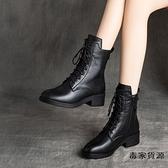 馬丁靴秋冬真皮鞋秋鞋女靴子英倫風鞋子中跟小短靴【毒家貨源】