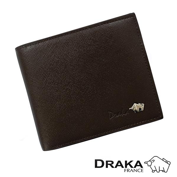 【南紡購物中心】【DRAKA達卡】庫爾真皮系列十字紋短夾-釘扣口袋-深咖